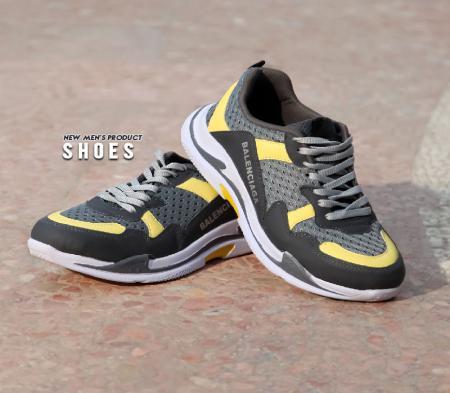 کفش مردانه Balenciaga plus(طوسی زرد)